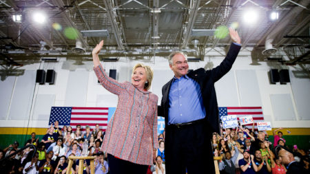 Democratic presidential candidate Hillary Clinton, and Sen. Tim Kaine, D-Va., participate in a rally at Northern Virginia Community College in Annandale, Va., Thursday, July 14, 2016. Kaine has been rumored to be one of Clinton's possible vice president choices. (AP Photo/Andrew Harnik)